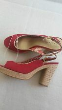 Tahari ladies sandals RED high heel with platform size 7uk 9us NEW canvas