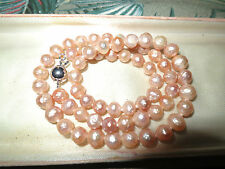 Lovely genuine cultured freshwater 6.5mm faceted pink pearl necklace