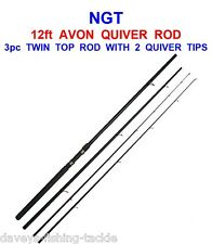 CLEARANCE NGT 12ft 3pc TWIN TOP MATCH FEEDER FLOAT FISHING + 2 AVON QUIVER TIPS