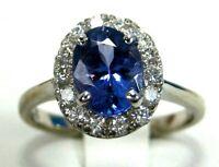 Tanzanite Ring Halo 18K White Gold Natural AAA+ GIA Insured Certified Ap $5,464