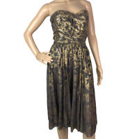 French Connection Gold Brown Strapless Dress Cotton Mix A-Line Floral
