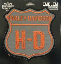 Harley Davidson Vintage Orange & Grey Bar & Shield Emblem Motorcycle Biker Vest
