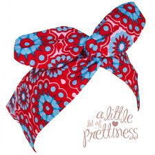 Rockabilly pinup 40s 50s retro red floral Wire Headband Hairscarf Wrap