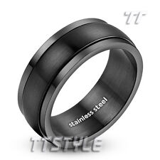 Mens TT 8mm Black Brushed Finished Stainless Steel Spinner Ring Size 6-15 (R10D)