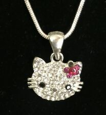 Hello Kitty Pink Bow Rhinestone Silver Chain Pendant Necklace