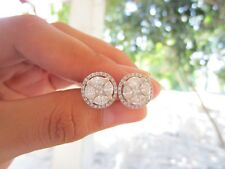 7.00 Carat Face Illusion Diamond White Gold Earrings 18K sepvergara