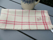 """Unused Antique  Rustic Handwoven Linen Towel Red Str. Mono AW 30""""by27""""US-$23.50"""