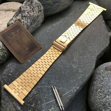 """1"""" 25mm JB Champion Gold HGE Brick Link 2pc 1960s New Old nos Vintage Watch Band"""