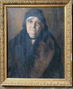 ::PORTRÄT DAME FRAU IM MANTEL ART DECO UM 1930 ÖLGEMÄLDE RAHMEN ANTIK TRAUERFLOR