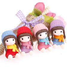 4x Mädchen mit Hut Miniaturfiguren Puppenhaus Gartendekor Mikro Landschaft-QY