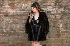 Dark brown Vintage Luxury mini barmink faux fur coat Dunbar fabric COURTELLE