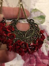 Gras Red Roses Fringe Earrings Nwt ��Bijoux Bar Scroll Lace Gold Mardi