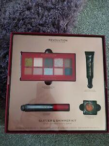 REVOLUTION LONDON GLITTER AND SHIMMER KIT, Glitter Palette, Lip Gloss Brand New