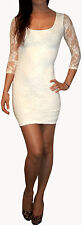Womens Lace Stretch Bodycon Evening Party Dress White Size S M 8 10 12 14 16 18