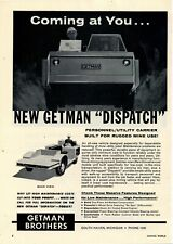 1962 Getman Brothers Ad: Utility Carrier for Mine Use - South Haven, Michigan