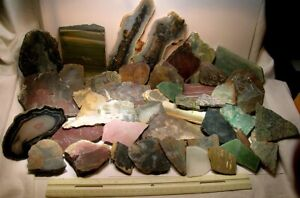 SUPER SALE 7 LBS, 96 TOTAL PIECES: SWEET MIXED WORLDWIDE LAPIDARY SLABS - NR!
