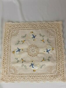 Vintage Cushion Covers Embroidered Crocheted Lace with Appliqued Ducks x 4