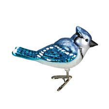 Old World Christmas Bright Blue Jay Bird Clip-On Glass Ornament 18080 Free Box