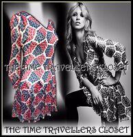 KATE MOSS TOPSHOP FLORAL RED BLUE FLAPPER DRESS VTG 20s DECO SWING UK 10 12