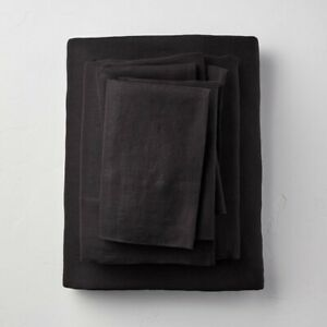4pc CASALUNA 100% Washed Linen Solid Sheet Set | FULL | Black | 🆕