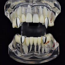 Vampire Fang Set Silver Tone 2 Canine K9 Dracula Fangs And Two Bottom Teeth Caps