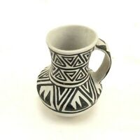 """Miniature Replica Pottery Black & White Handmade Pitcher 2"""" Tall Signed Great"""