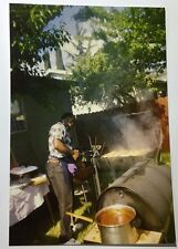 Vintage PHOTO African American Cook In Backyard Holding Tongs To Flip Chicken