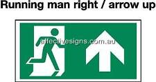 Running Man Right Exit up Sign Safety Signs Australian Made Quality Printed Sign