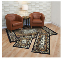 3 Piece Combo Runner Mat Area Rug Set safari Leopard Animal Print border exotic