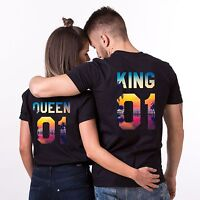 King and Queen Shirt Tropical Print 01 Couple Matching Summer Tee Top His Hers