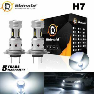 Ridroid 2x H7 LED Headlight Bulbs Low Beam Conversion Kit Cool White 6000K Lamps