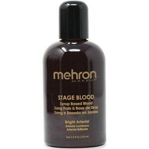 MEHRON 4 OZ FAKE STAGE BLOOD Bottle Red Prank Halloween Special Effects Vampire