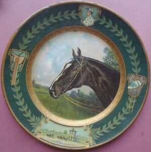 VRare 1908 MEEK COMPANY Vienna Art THOROUGHBRED RACE HORSE TIN TRAY - REMARKABLE