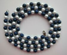 """Ladies 37-38"""" Long 8 mm Pearl & Blue Agate Necklace."""