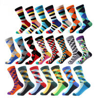 NEW Mens Cotton Socks Novelty Colourful Argyle Diamond Stripe Funny Casual Socks
