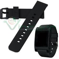 Cinturino silicone 22mm NERO bracciale fascia polso fibbia per Pebble Time PHS4