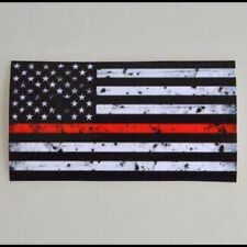 Firefighter Thin Red Line USA American Flag Car Decal Sticker Tattered