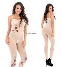 Sexy Rose Printing Nude Sling Long Body Stocking Sheer Jumpsuit Entice Sleepwear