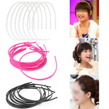 Cool 10Pcs Black Plain Lady Women Plastic Teeth Skinny Thin Hair Band Headband