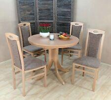 Essgruppe 5-tlg. Auszugtisch rund Stühle Esstisch Farbe: Buche-Natur/Cappuccino