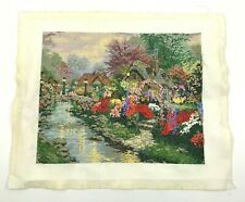 """Vtg Finished Cross Stitch French Knot Floral Garden Unframed 10 X 13"""" Gorgeous"""