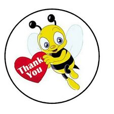 """48 Thank You Bee! Envelope Seals Labels Stickers 1.2"""" Round"""