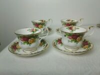 4 Royal Albert Old Country Roses Bone China Tea Cups Saucers England 1962 R1/4