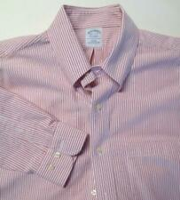 Men's BROOKS BROTHERS Pink Striped Dress Shirt 16 1/2 - 2/3  free ship #15
