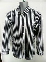 MENS LACOSTE NAVY & WHITE STRIPED LONG SLEEVED DRESS SHIRT 40 REGULAR FIT