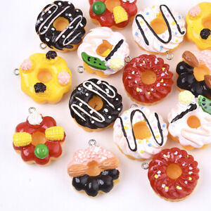 10pcs Colorful Resin Cake Pendants Mini Cute Dangle Charms DIY Craft 29.5~33mm