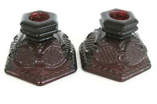 Avon Cape Cod Ruby Red Glass Pair of Short Candle Stick Holders 1019B