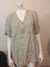 NWT XL Women Ellen Tracy company high-Low top 100% Linen Sandstone Blouse