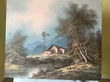 Vintage Estate Original Oil Painting Winmail Cabin Signed Lorenz