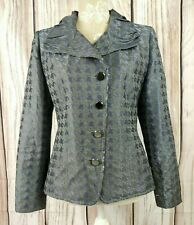 Basler Cropped Blazer Jacket Satin Shiny Houndstooth Print Size 38 UK 10